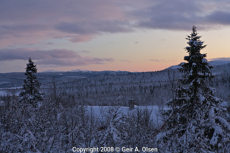 Sunset in the early winter in the Norwegian mountains