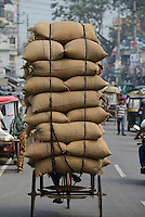 BANGLADESH Tangail, worker transport paddy in jute bags with bicycle rikshaw from rice mill near Kalihati / BANGLADESCH Arbeiter transportiert Jutesaecke mit Reis mit einer Fahrrad-Rikscha