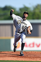 Omaha Storm Chasers pitcher Sugar Ray Marimon (44) delivers a warmup pitch during the first game of a double header against the Nashville Sounds on May 21, 2014 at Herschel Greer Stadium in Nashville, Tennessee.  Nashville defeated Omaha 5-4.  (Mike Janes/Four Seam Images)
