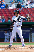 Kane County Cougars first baseman Andy Yerzy (38) during a Midwest League game against the Cedar Rapids Kernels at Northwestern Medicine Field on April 28, 2019 in Geneva, Illinois. Kane County defeated Cedar Rapids 3-2 in game one of a doubleheader. (Zachary Lucy/Four Seam Images)