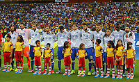 Italy line up to sing their national anthem