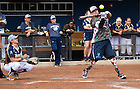 """Sept. 29. 2013; Zachary """"Beef"""" Briseno hits a home run. Announcer Bob Nagle joked """"We're going to run out of softballs.""""<br /> <br /> Photo by Matt Cashore/University of Notre Dame"""