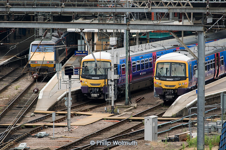 First Capital Connect trains at King's Cross station, London.