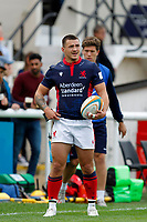 Dan Barnes of London Scottish sizes up the conversion during the Championship Cup match between London Scottish Football Club and Nottingham Rugby at Richmond Athletic Ground, Richmond, United Kingdom on 28 September 2019. Photo by Carlton Myrie / PRiME Media Images
