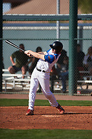 Noah Roberts (9) of Jacob Hespeler Secondary School in Cambridge, Ontario, Canada during the Baseball Factory All-America Pre-Season Tournament, powered by Under Armour, on January 14, 2018 at Sloan Park Complex in Mesa, Arizona.  (Zachary Lucy/Four Seam Images)