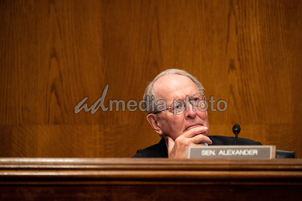 """United States Senator Lamar Alexander (Republican of Tennessee), chairman, US Senate Health, Education, Labor and Pensions Committee, listens during the hearing titled """"COVID-19: Going Back to School Safely"""" on Capitol Hill in Washington, DC on Thursday, June 4, 2020.<br /> Credit: Ting Shen / CNP/AdMedia"""