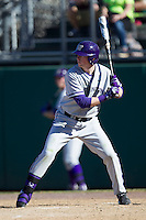 Washington Huskies outfielder Brian Wolfe (10) at bat during the NCAA season opening baseball game against the Air Force Falcons on February 14, 2014 at Bobcat Ballpark in San Marcos, Texas. Air Force defeated Washington 14-9. (Andrew Woolley/Four Seam Images)