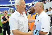 New York Red Bulls head coach Hans Backe shakes hands with Houston Dynamo head coach Dominic Kinnear before the game. The New York Red Bulls defeated the Houston Dynamo 2-1 during a Major League Soccer (MLS) match at Red Bull Arena in Harrison, NJ, on June 2, 2010.
