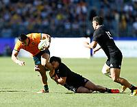 5th September 2021; Optus Stadium, Perth, Australia: Bledisloe Cup international rugby, Australia versus New Zealand; Australia tries to break through the All Blacks defense