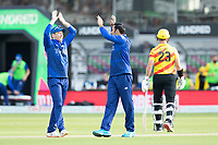 Eoin Morgan, London Spirit quick to congratulate Mohammad Nabi, London Spirit on the wicket of `Hales during London Spirit Men vs Trent Rockets Men, The Hundred Cricket at Lord's Cricket Ground on 29th July 2021