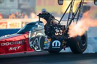 Oct 31, 2020; Las Vegas, Nevada, USA; NHRA top fuel driver Leah Pruett during qualifying for the NHRA Finals at The Strip at Las Vegas Motor Speedway. Mandatory Credit: Mark J. Rebilas-USA TODAY Sports