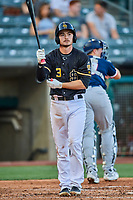 Preston Palmeiro (3) of the Salt Lake Bees at bat against the Tacoma Rainiers at Smith's Ballpark on May 13, 2021 in Salt Lake City, Utah. The Rainiers defeated the Bees 15-5. (Stephen Smith/Four Seam Images)