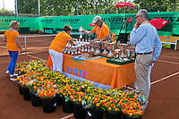 August 9, 2014, Netherlands, Rotterdam, TV Victoria, Tennis, National Junior Championships, NJK,  Preparing the trophy table<br /> Photo: Tennisimages/Henk Koster