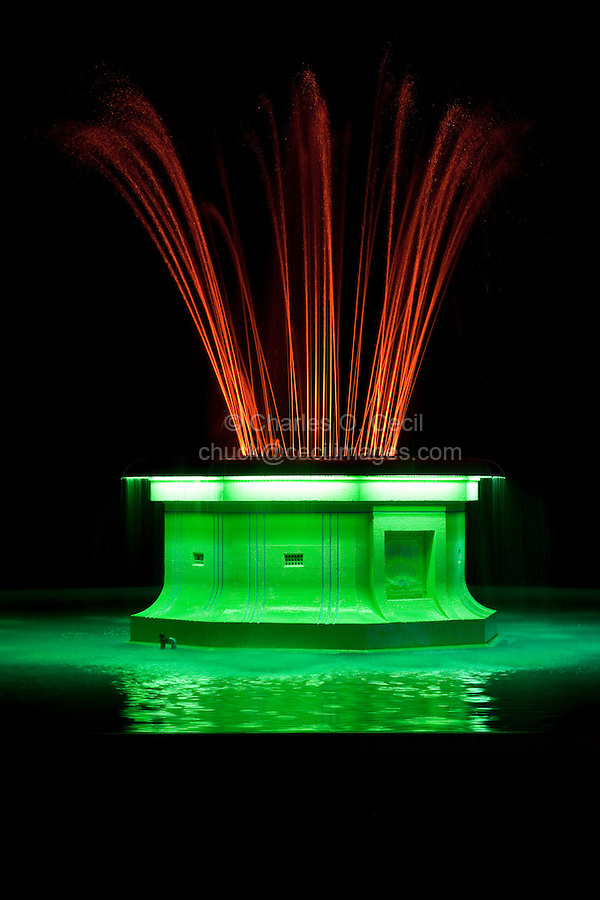 Napier, New Zealand.  Tom Parker Art Deco  Fountain Illuminated at Night.