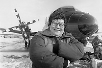 1987 FILE PHOTO - ARCHIVES -<br /> <br /> Prosperous days: Billy Diamond with one of the Air Creebec planes, a symbol of the Cree's new image. We are now masters in our own house, says Diamond.<br /> <br /> 1987<br /> <br /> PHOTO :  Collin McConnell - Toronto Star Archives - AQP