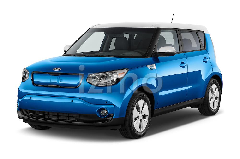 2015 KIA Soul EV Base 5 Door Wagon Angular Front stock photos of front three quarter view
