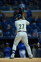 Austin Riley (27) of the Gwinnett Braves at bat against the Durham Bulls at Durham Bulls Athletic Park on April 20, 2019 in Durham, North Carolina. The Bulls defeated the Braves 3-2 in game two of a double-header. (Brian Westerholt/Four Seam Images)