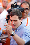 Center-right party Ciudadanos leader and party candidate, Albert Rivera, speaks during the party final campaign meeting on Isabel II Square in Madrid ahead of the June 26 general election. June 24,2015. (ALTERPHOTOS/Acero)