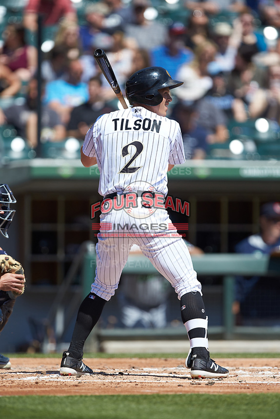 Charlie Tilson (2) of the Charlotte Knights at bat against the Gwinnett Stripers at BB&T BallPark on May 2, 2018 in Charlotte, North Carolina.  The Knights defeated the Stripers 6-5.  (Brian Westerholt/Four Seam Images)
