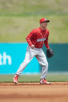 Lakewood BlueClaws shortstop Dalton Guthrie (5) on defense against the Kannapolis Intimidators at Kannapolis Intimidators Stadium on April 8, 2018 in Kannapolis, North Carolina.  The Intimidators defeated the BlueClaws 5-1 in game one of a double-header.  (Brian Westerholt/Four Seam Images)