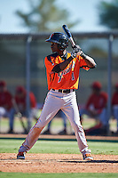 San Francisco Giants Robert Antunez (1) during an Instructional League game against the Los Angeles Angels of Anaheim on October 13, 2016 at the Tempe Diablo Stadium Complex in Tempe, Arizona.  (Mike Janes/Four Seam Images)