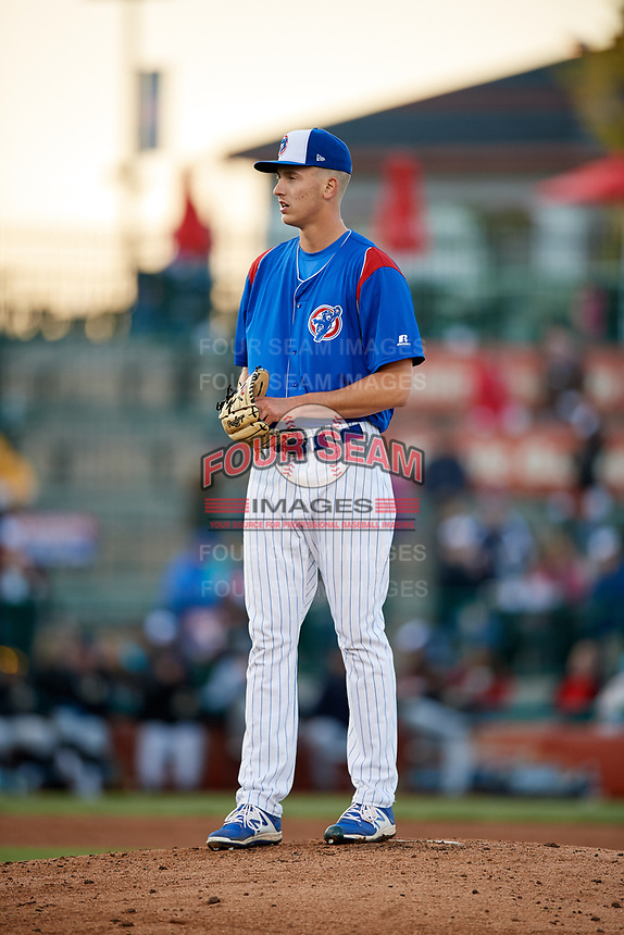 South Bend Cubs starting pitcher Bryan Hudson (52) gets ready to deliver a pitch during a game against the Clinton LumberKings on May 5, 2017 at Four Winds Field in South Bend, Indiana.  South Bend defeated Clinton 7-6 in nineteen innings.  (Mike Janes/Four Seam Images)