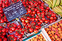 Tomatoes in market, Nomandy, France. July.