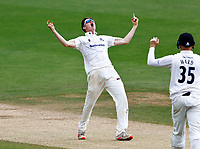 Jack Carson of Sussex celebrates after bowling Heino Kuhn during Kent CCC vs Sussex CCC, LV Insurance County Championship Group 3 Cricket at The Spitfire Ground on 14th July 2021