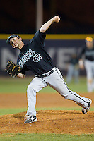 Coastal Carolina Chanticleers relief pitcher Brock Hunter (42) delivers a pitch to the plate against the High Point Panthers at Willard Stadium on March 15, 2014 in High Point, North Carolina.  (Brian Westerholt/Four Seam Images)