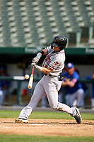 Quad Cities River Bandits Michael Massey (4) bats during a game against the South Bend Cubs on August 20, 2021 at Four Winds Field in South Bend, Indiana.  (Mike Janes/Four Seam Images)
