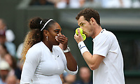 Andy Murray (GBR) & Serena Williams (USA) during their match against Andreas Mies (GER) & Alexa Guarachi (CHI) in their Mixed Doubles First Round Match<br /> <br /> Photographer Rob Newell/CameraSport<br /> <br /> Wimbledon Lawn Tennis Championships - Day 6 - Saturday 6th July 2019 -  All England Lawn Tennis and Croquet Club - Wimbledon - London - England<br /> <br /> World Copyright © 2019 CameraSport. All rights reserved. 43 Linden Ave. Countesthorpe. Leicester. England. LE8 5PG - Tel: +44 (0) 116 277 4147 - admin@camerasport.com - www.camerasport.com