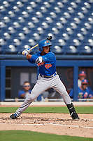 GCL Mets second baseman Gregory Guerrero (85) at bat during the first game of a doubleheader against the GCL Nationals on July 22, 2017 at The Ballpark of the Palm Beaches in Palm Beach, Florida.  GCL Mets defeated the GCL Nationals 1-0 in a seven inning game that originally started on July 17th.  (Mike Janes/Four Seam Images)