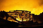 © Joel Goodman - 07973 332324 .22/12/2011 . Lancashire , UK . Fire fighters tackle a large fire spread across several buildings on an industrial estate at Enterprise Court on Spurrier Street, in Leyland . Photo credit: Joel Goodman