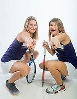 NWA Democrat-Gazette/BEN GOFF @NWABENGOFF<br /> Yasmine Humbert (left) and Grace Coleman of Fayetteville, girls tennis doubles team of the year, pose for a photo Thursday, Nov. 29, 2018, at the Northwest Arkansas Democrat-Gazette studio in Springdale.