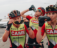 8th October 2021; AJ Bell Womens Cycling Tour, Stage 5, Colchester to Clacton on Sea.  Hayley Simmonds (CAMS BASSO) with her team mates at the finish in Clacton.