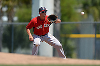 Boston Red Sox Sam Travis (12) during a minor league spring training game against the Baltimore Orioles on March 18, 2015 at Buck O'Neil Complex in Sarasota, Florida.  (Mike Janes/Four Seam Images)