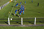 Crook Town 1 Albion Sports 0, 19/09/2020. Sir Tom Cowie Millfield Ground, FA Vase first round qualifying. The away team players going through their pre-match warm-up before Crook Town take on Albion Sports in an FA Vase first round qualifying tie at the Sir Tom Cowie Millfield Ground in Crook, County Durham, their home since 1898. Formed in 1889, Crook joined the Northern League in 1896 and between 1913 and 1922 made three trips to play Barcelona, part of an initiative to establish football as the main sport in Catalonia instead of bullfighting. Crook won this match 1-0 against their opponents from Bradford, watched by a crowd of 208 spectators. Photo by Colin McPherson.