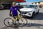 Ann Eager after cycling from Donegal to Derrymore Beach for the ICU in Beaumont and the Cardiac Rehabilitation Unit in the UHK,