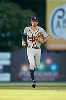 Rome Braves shortstop Braden Shewmake (39) jogs off the field between innings of the game against the Kannapolis Intimidators at Kannapolis Intimidators Stadium on July 2, 2019 in Kannapolis, North Carolina.  The Intimidators walked-off the Braves 5-4. (Brian Westerholt/Four Seam Images)