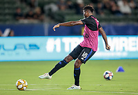 CARSON, CA - SEPTEMBER 21: Orji Okwonkwo #18 of the Montreal Impact warms up during a game between Montreal Impact and Los Angeles Galaxy at Dignity Health Sports Park on September 21, 2019 in Carson, California.