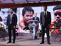 LOS ANGELES, CA - JULY 11: Manny Pacquaio and Errol Spence Jr. attend a press conference on July 11, 2021 in Los Angeles for their upcoming Fox Sports PBC pay-per-view fight. Pacquaio vs Spence pay-per-view will be on August 21 at T-Mobile Arena in Las Vegas. (Photo by Frank Micelotta/Fox Sports/PictureGroup)