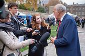 Vince Cable MP interviewed by TV and radio journalists on College Green, Westminster, London, on the day of four ministerial resignations over Brexit deal.