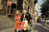 Young women shopping in Lviv.