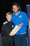 St Johnstone FC Youth Academy Presentation Night at Perth Concert Hall..21.04.14<br /> Stevie May presents to Ross Cameron<br /> Picture by Graeme Hart.<br /> Copyright Perthshire Picture Agency<br /> Tel: 01738 623350  Mobile: 07990 594431