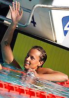 Trofeo Settecolli di nuoto al Foro Italico, Roma, 15 giugno 2013.<br /> Federica Pellegrini, of Italy, waves after winning in the women's 200 meters backstroke at the Sevenhills swimming trophy in Rome, 15 June 2013.<br /> UPDATE IMAGES PRESS/Isabella Bonotto