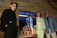 Serge Losique (and Danielle Cauchard) adress the  media at the  World Film Festival news conference in June 2005.<br /> <br />  File Photo Agence Quebec Presse - Pierre Roussel