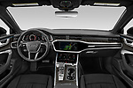 Stock photo of straight dashboard view of 2021 Audi A6-Allroad Premium-Plus 5 Door Wagon Dashboard
