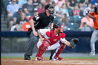 Richmond Flying Squirrels catcher Jackson Williams (8) sets a target as home plate umpire Alex Tosi looks on during the game against the Bowie Baysox at The Diamond on May 23, 2015 in Richmond, Virginia.  The Baysox defeated the Flying Squirrels 3-2.  (Brian Westerholt/Four Seam Images)