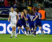 Carli Lloyd, Japanese goal.  Japan won the FIFA Women's World Cup on penalty kicks after tying the United States, 2-2, in extra time at FIFA Women's World Cup Stadium in Frankfurt Germany.
