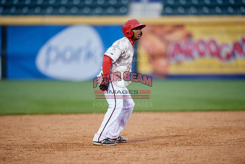 Harrisburg Senators second baseman Kayyan Norfork (15) leads off second base during the second game of a doubleheader against the New Hampshire Fisher Cats on May 13, 2018 at FNB Field in Harrisburg, Pennsylvania.  Harrisburg defeated New Hampshire 2-1.  (Mike Janes/Four Seam Images)